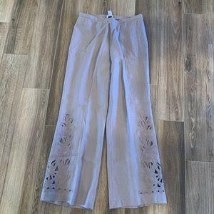 Soft Surroundings linen wide leg detail pants med